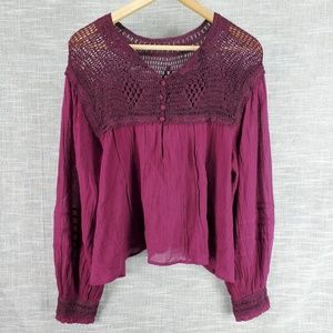 Free People Plum Peasant Blouse Small Crocheted